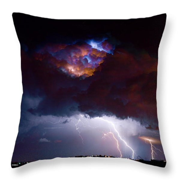 Highway 52 Thunderhead Lightning Cell Throw Pillow by James BO  Insogna