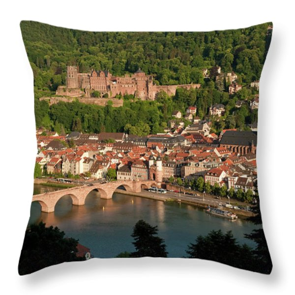Hilltop View - Heidelberg Castle Throw Pillow by Greg Dale