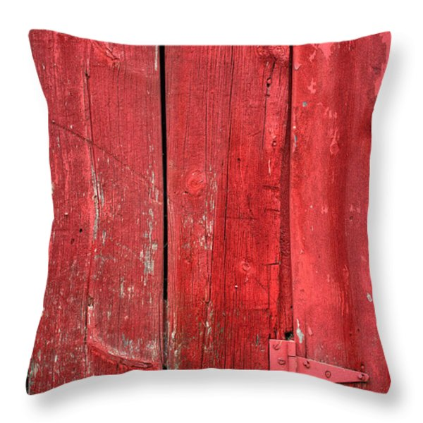 Hinge On A Red Barn Throw Pillow by Steve Gadomski