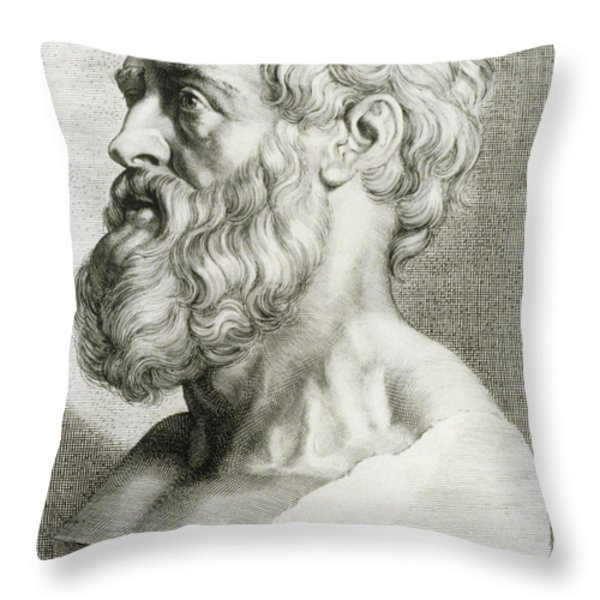 Hippocrates, Greek Physician Throw Pillow by Science Source