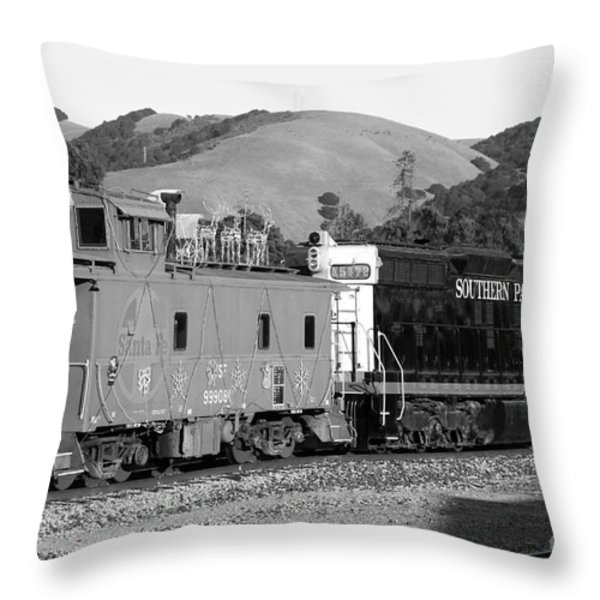 Historic Niles Trains in California . Southern Pacific Locomotive and Sante Fe Caboose.7D10843.bw Throw Pillow by Wingsdomain Art and Photography