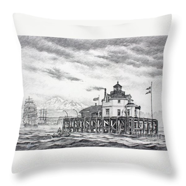 Historic Semiahmoo Lighthouse Throw Pillow by James Williamson