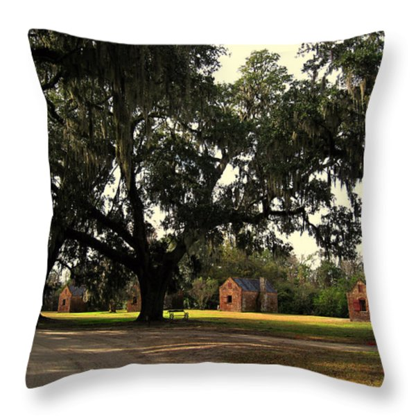Historic Slave Houses at Boone Hall Plantation in SC Throw Pillow by Susanne Van Hulst