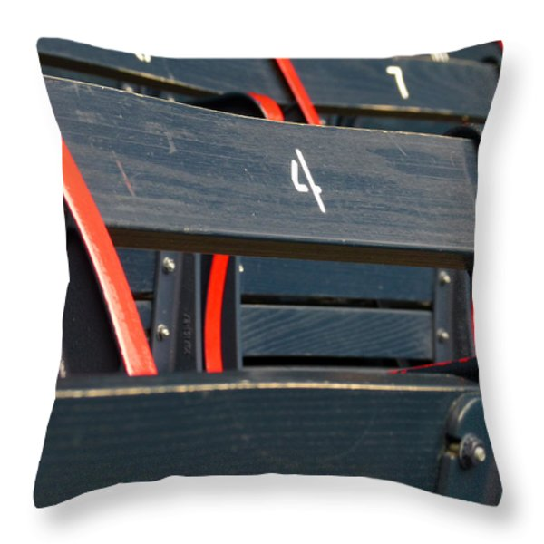 Historical Wood Seating at Boston Fenway Park Throw Pillow by Juergen Roth