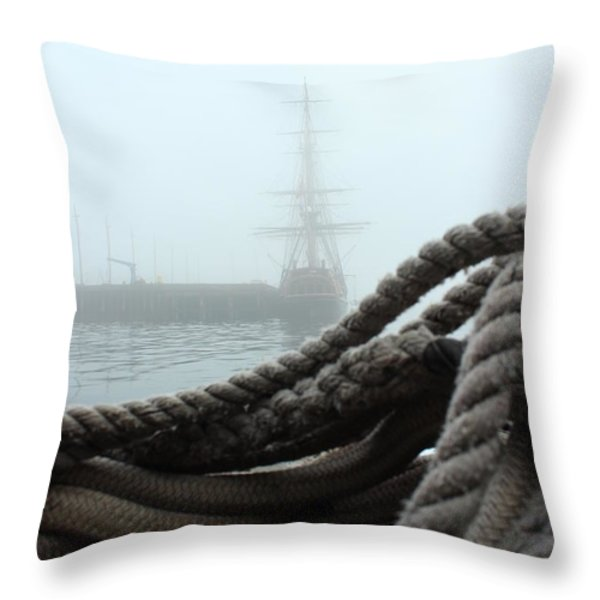 HMS Bounty In The Eastport Fog Throw Pillow by Rick  Blood