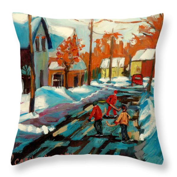 Hockey Game In Ville St Laurent Montreal Streetscenes Throw Pillow by Carole Spandau