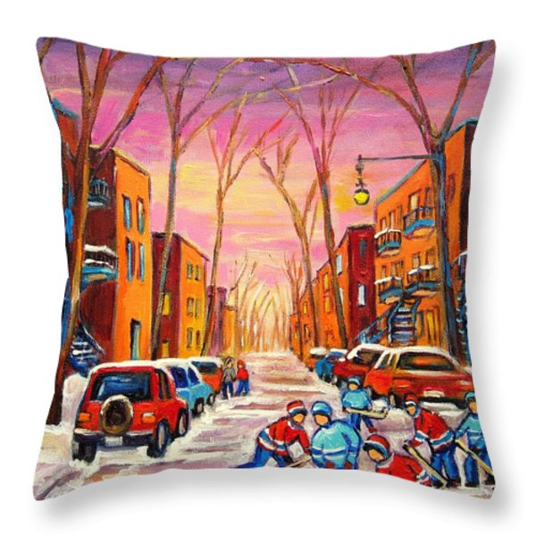 Hockey On Hotel De Ville Street Throw Pillow by Carole Spandau