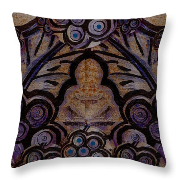 Holy In Peace And Acryl Throw Pillow by Pepita Selles