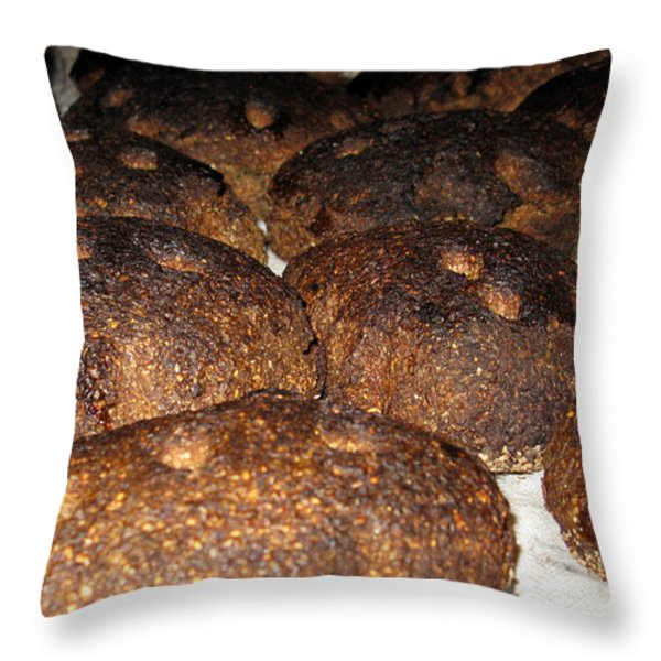 Homemade Lithuanian Rye Bread Throw Pillow by Ausra Paulauskaite