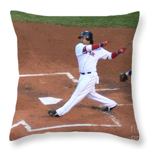Homerun Swing Throw Pillow by Kevin Fortier