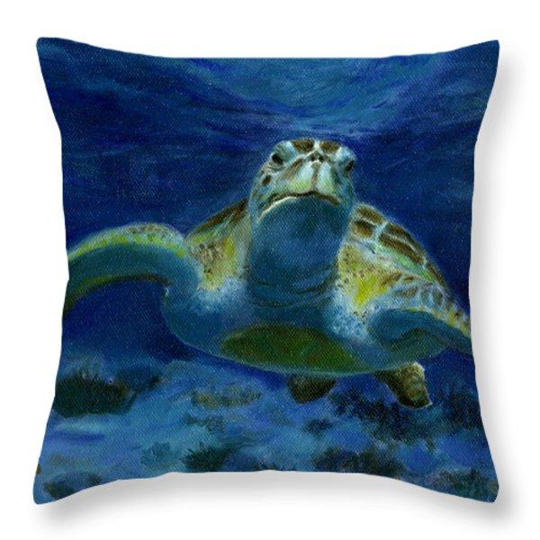 Honaunau Honu Throw Pillow by Michele Ross