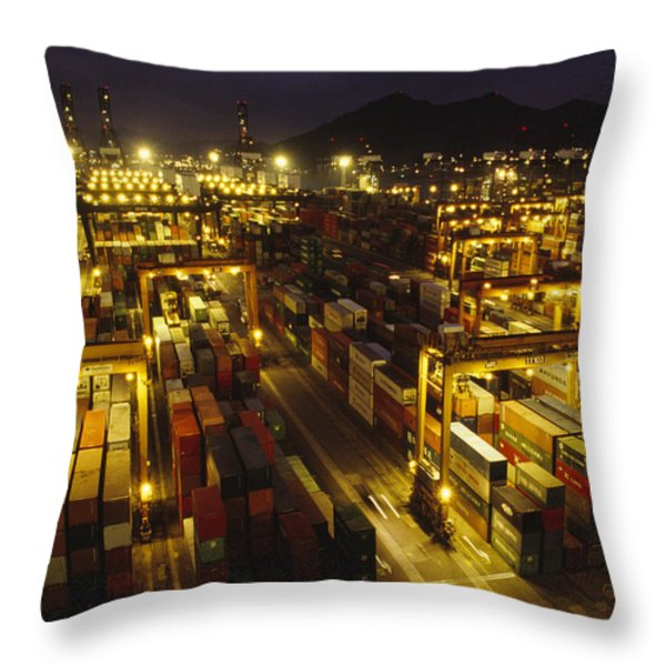 Hong Kong Container Terminal, One Throw Pillow by Justin Guariglia