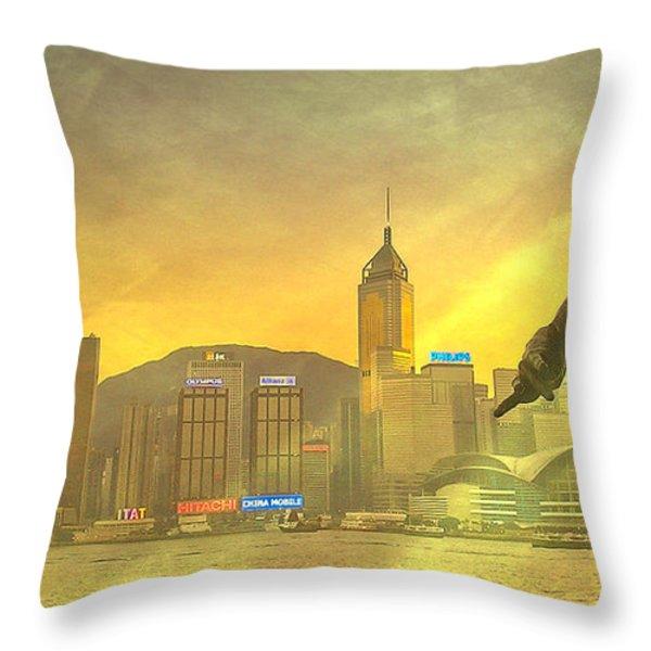 Hong Kong Lights Throw Pillow by Loriental Photography