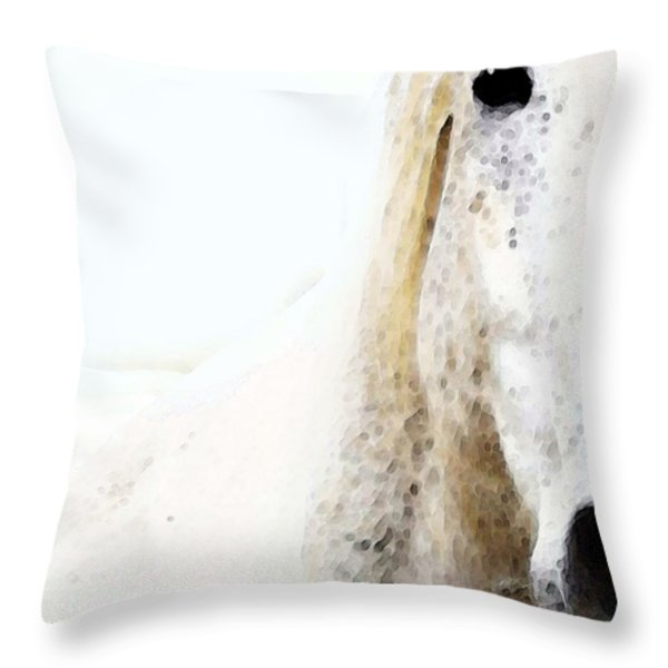 Horse Art - Waiting For You  Throw Pillow by Sharon Cummings