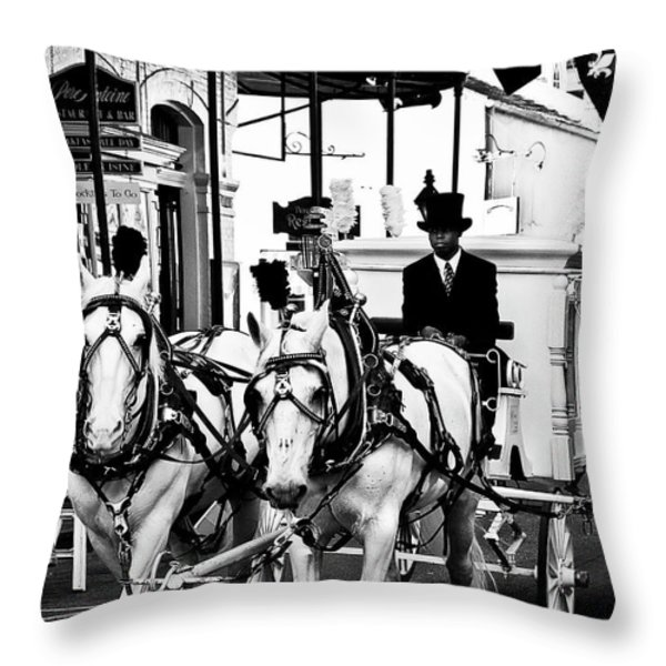 Horse Drawn Funeral Carriage Throw Pillow by Kathleen K Parker