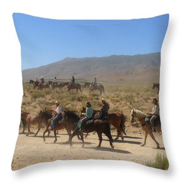 Horse Drive from June Lake to Bishop California Throw Pillow by Christine Till