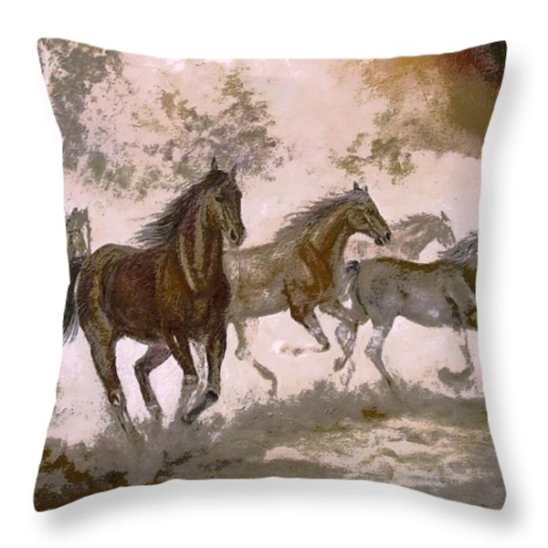 Horse Painting A dream of running wild Throw Pillow by Gina Femrite