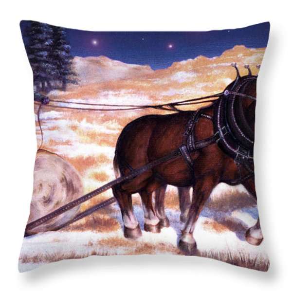 Horses Pulling Log Throw Pillow by Curtiss Shaffer