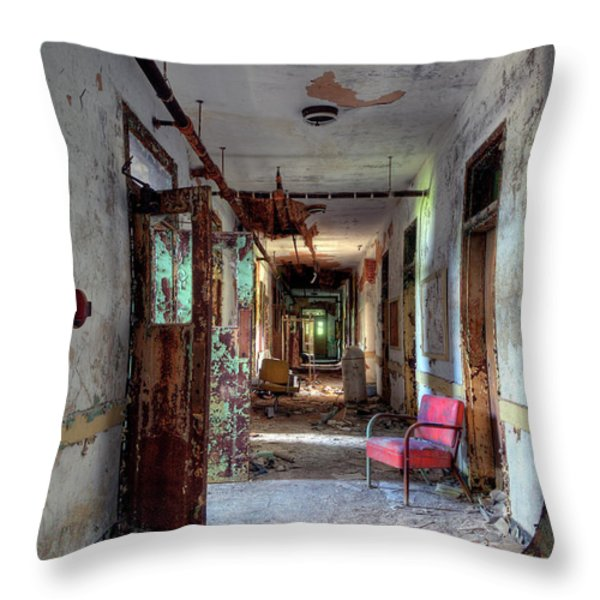 Hospital Hallway Throw Pillow by Murray Bloom