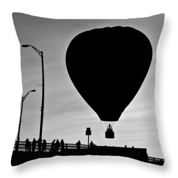 Hot Air Balloon Bridge Crossing Throw Pillow by Bob Orsillo
