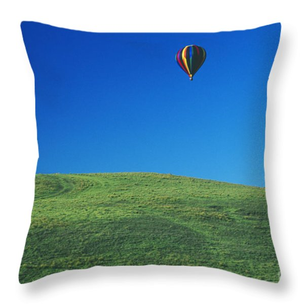 Hot Air Balloon In Hawaii Throw Pillow by Peter French - Printscapes
