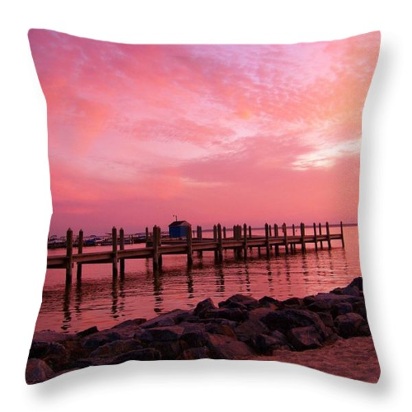Hot Bay Sunset Throw Pillow by Trish Tritz