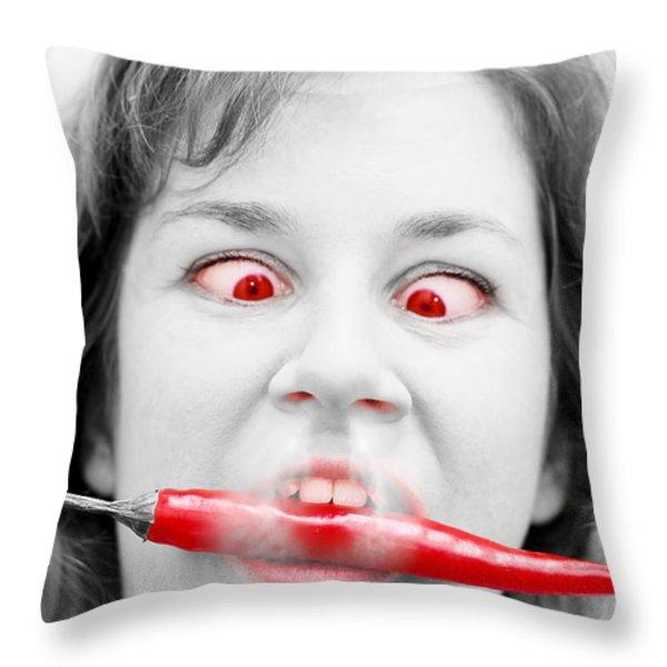 Hot Chilli Woman Throw Pillow by Ryan Jorgensen