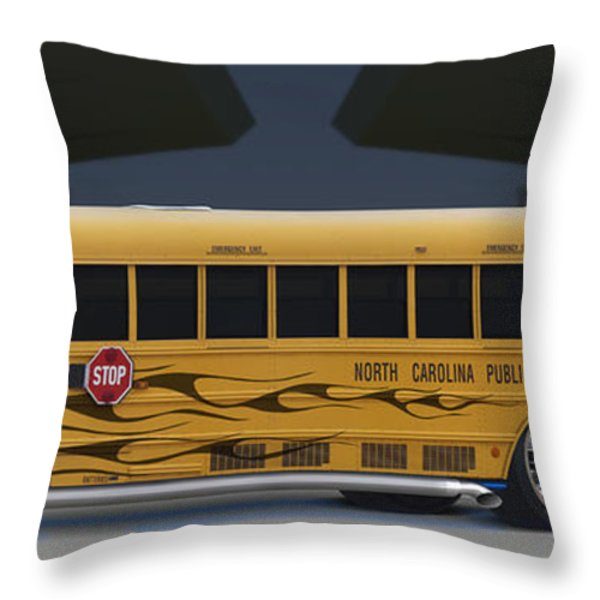 Hot Rod School Bus Throw Pillow by Mike McGlothlen