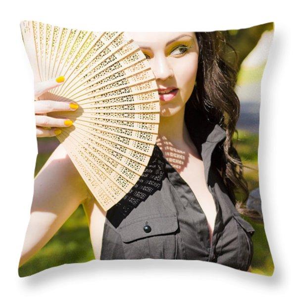 Hot Woman Throw Pillow by Ryan Jorgensen