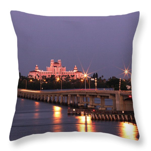 Hotel Don Cesar The Pink Palace St Petes Beach Florida Throw Pillow by Mal Bray