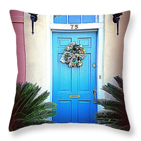 House Door 6 In Charleston Sc Throw Pillow by Susanne Van Hulst