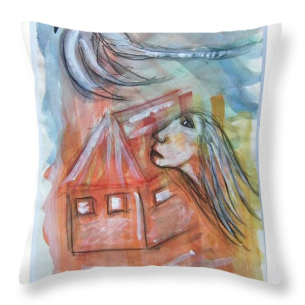 HOUSE WITHOUT A DOOR - HAUS OHNE TUER Throw Pillow by Mimulux patricia no