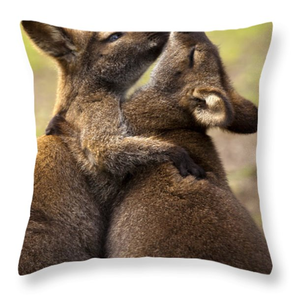 Hugs Throw Pillow by Mike  Dawson