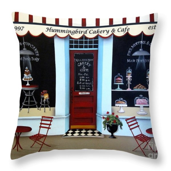Hummingbird Cakery and Cafe Throw Pillow by Catherine Holman
