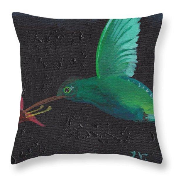 Hummingbird Feeding Throw Pillow by Jose Valeriano