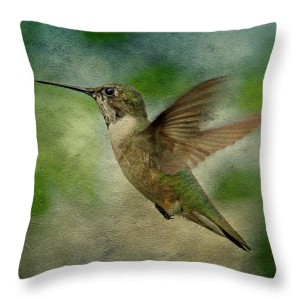 Hummingbird in Flight II Throw Pillow by Sandy Keeton