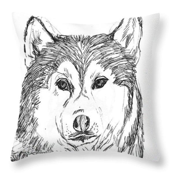 Husky Throw Pillow by Charme Curtin