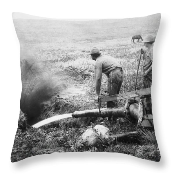 Hydraulic Gold Mining C. 1889 - S. Dakota Throw Pillow by Daniel Hagerman