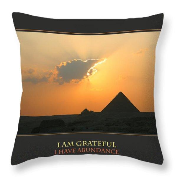I Am Grateful I Have Abundance Throw Pillow by Donna Corless