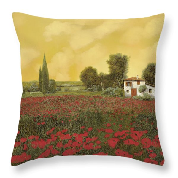 i papaveri e la calda estate Throw Pillow by Guido Borelli