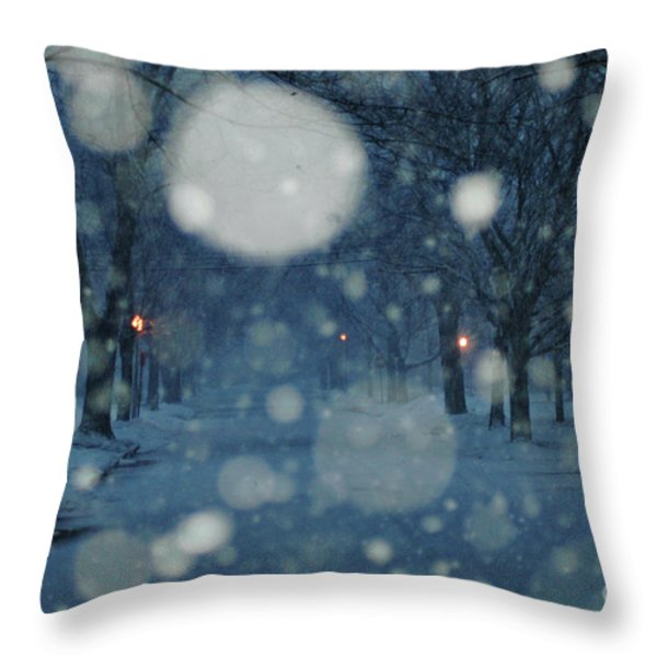Ice Blue Snowy Landscape Throw Pillow by Anahi DeCanio