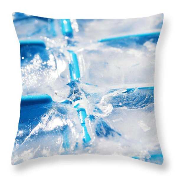 Ice Cubes Throw Pillow by Carlos Caetano