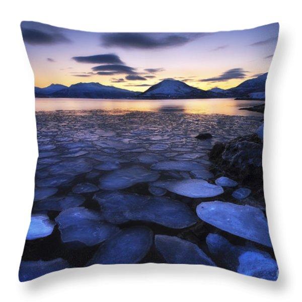 Ice Flakes Drifting Against The Sunset Throw Pillow by Arild Heitmann