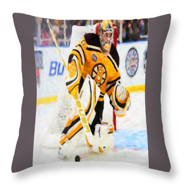 Ice Hockey Goalie Throw Pillow by Lanjee Chee