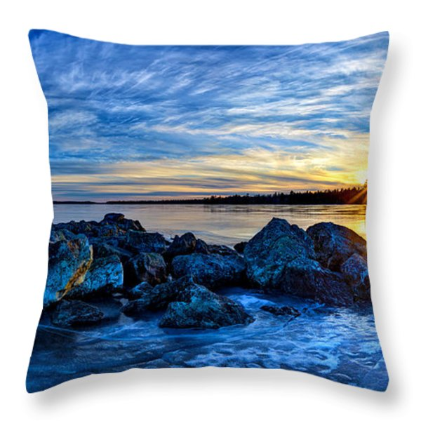 Icebound Sunset Panorama Throw Pillow by Bill Caldwell -        ABeautifulSky Photography