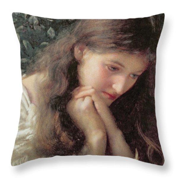 Idle Tears Throw Pillow by Edward Robert Hughes