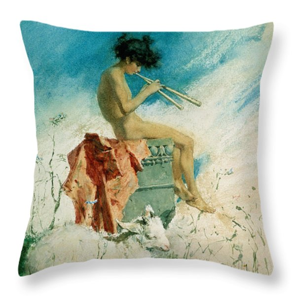 Idyll Throw Pillow by Mariano Fortuny y Marsal