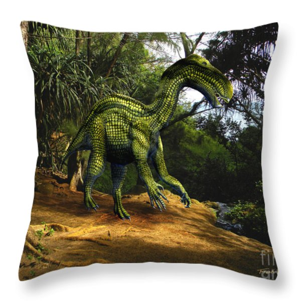 Iguanodon In The Jungle Throw Pillow by Frank Wilson