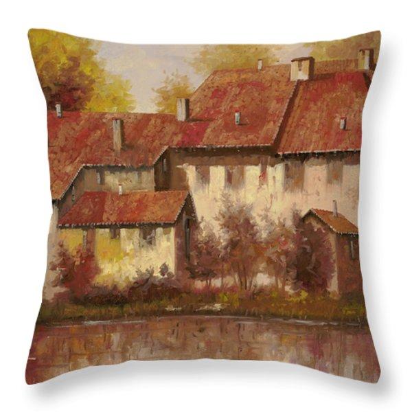 Il Borgo Rosso Throw Pillow by Guido Borelli