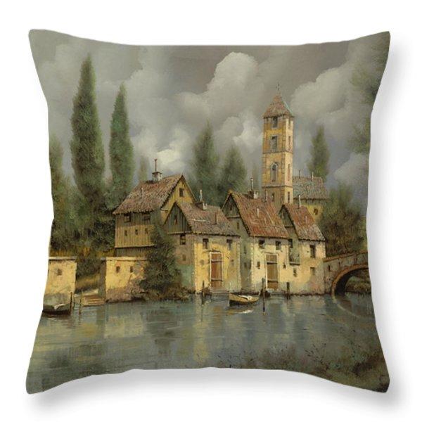 il borgo sul fiume Throw Pillow by Guido Borelli